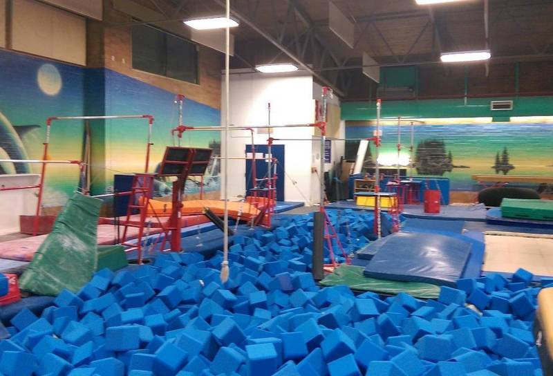 Rear of the gym foam pits
