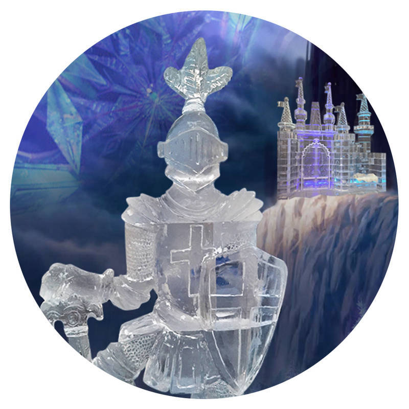 Enjoy our large ice showcase display. Complete with icy knight, castle, ice truck and more!