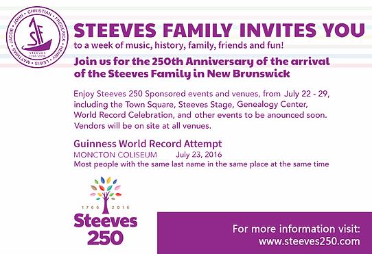 Steeves 250 Invite