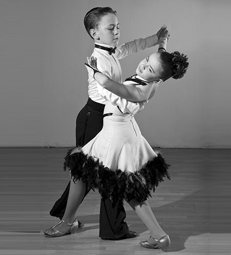 Kids in ballroom position