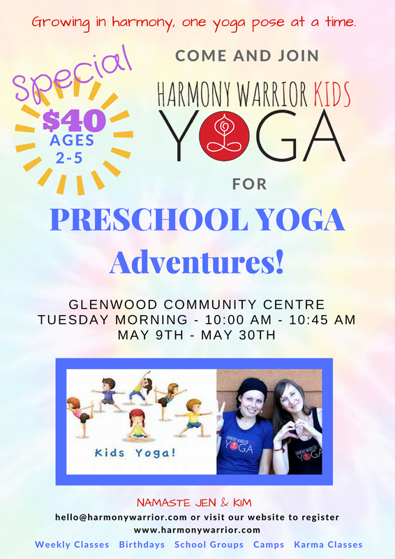Preschool Yoga Adventures tuesday at Glenwood Community Centre