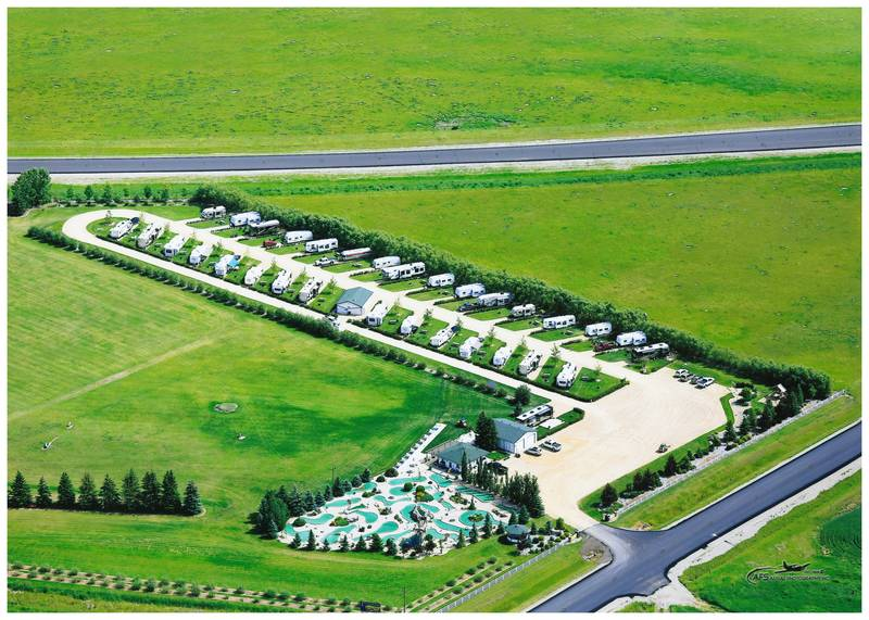 Aerial view of the RV Park, Mini Golf and Driving Range