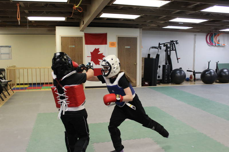Kid Class - practicing techiniques during sparring