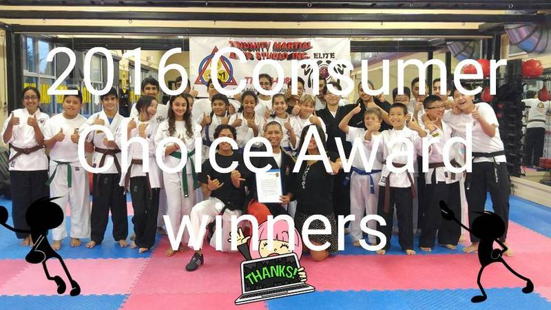 Winners of the 2016 Consumer Choice Awards. www.triunitymartialarts.com